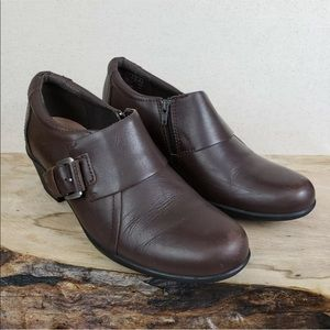 "Clarks Brown Leather Buckle Ankle Booties 2"" Heels"